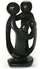 This is a beautiful African soapstone carving of a family of four.